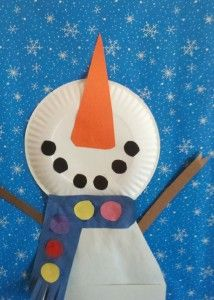 Snowman Looking Up at Falling Snow- winter art project for elementary