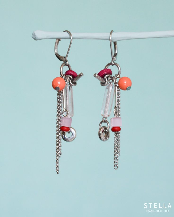 Dangly Colourful Earrings. Glass Beads, Pewter, Hypoallergenic Ear Wire, Silver Chains. Pink, Fuchsia, Coral & Red by StellaIsabelDesy on Etsy https://www.etsy.com/ca/listing/291510643/dangly-colourful-earrings-glass-beads
