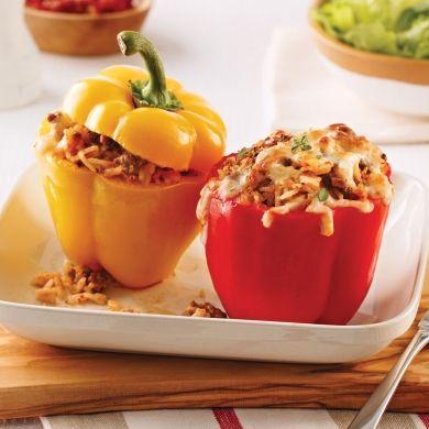 Poivrons farcis au boeuf, yogourt et tomates séchées - Recettes - Cuisine et nutrition - Pratico Pratique