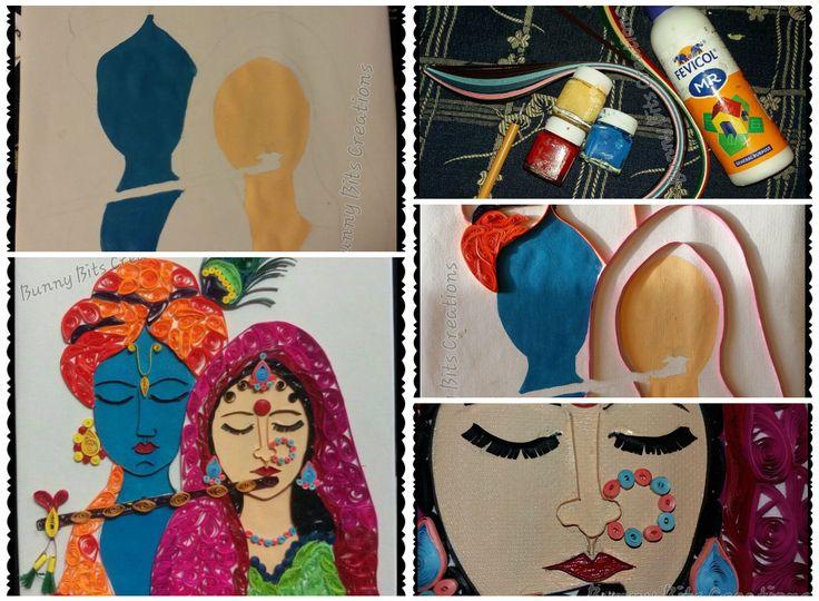 Quilled Radha Krishna Painting