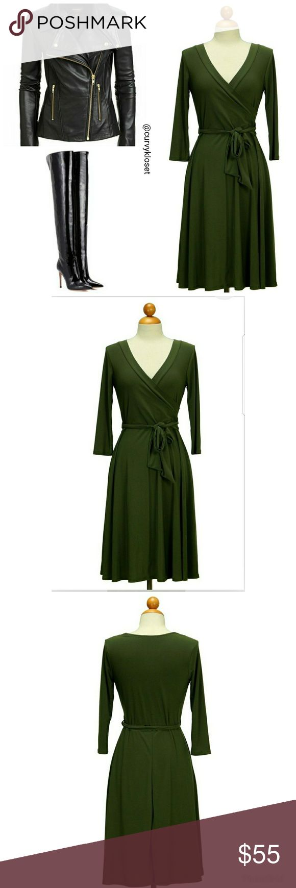 Olive Green Maxi Wrap Dress NWOT This easy stretch wrap dress is perfect for any occasion. Dress up or down for work and dinner!  3/4 length sleeve  95% polyester, 5% spandex.  Length: 39 inches from shoulder to hem Dresses Maxi