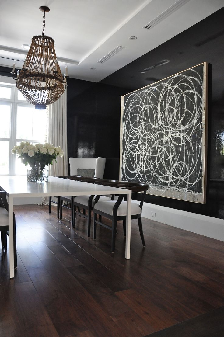Love this dining room and the artwork.