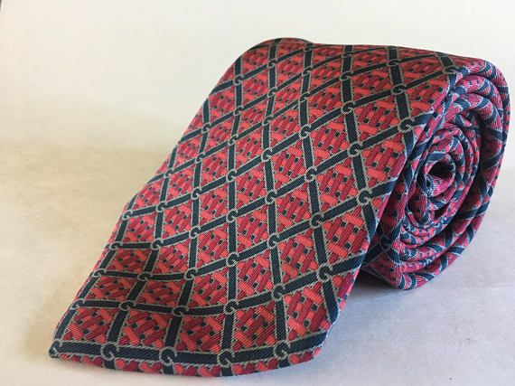 Gucci Men's Pure Silk Tie 1970s  Husband Gift Dad Gift