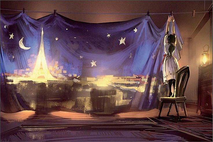 Early concept art of Elizabeth's art of Paris. BioShock Infinite.