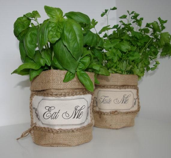 Handmade Burlap Hessian Rustic Plant Vase Basket Bag. £5.99, via Etsy.