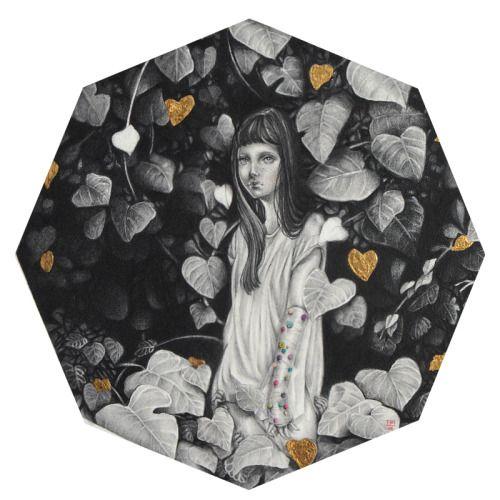Paulette Jo, Unearth. Framed 40 x 40 cm, graphite, golden leaf and gouache on illustration board.