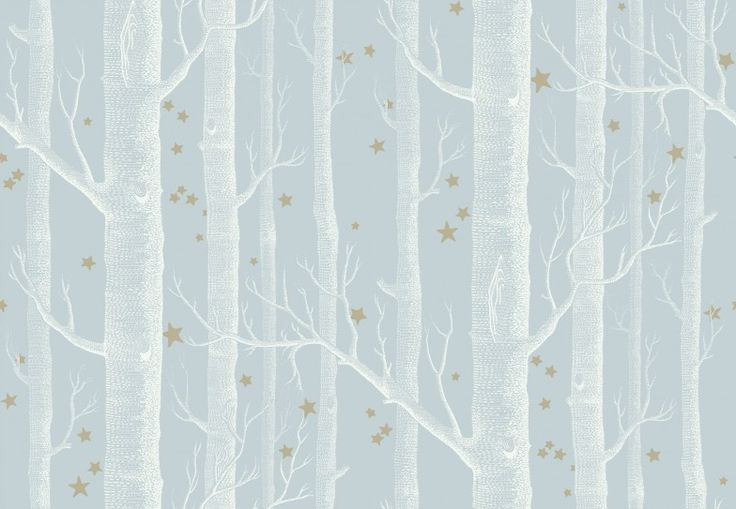 Woods and Stars (103/11051) - Cole & Son Wallpapers - The iconic woods design now ushers you into the most fairytale of worlds, a forest of silver birches and dainty star clusters. Shown here in white on a chalky sky blue with metallic gold shimmering stars. Other colour ways available. Paste the wall product. Please request a sample for true colour match.