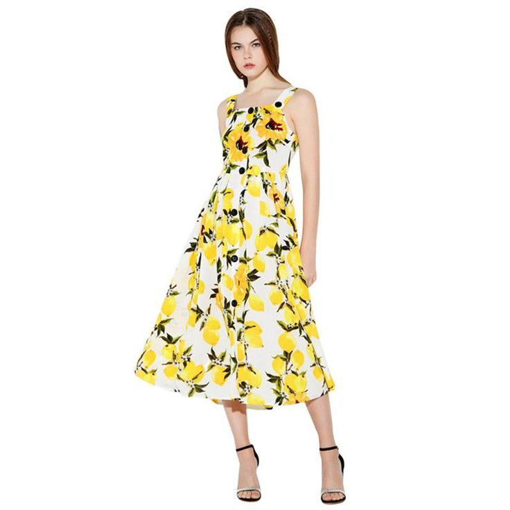 Floral Printed A Line MidiDresses Women Elegant Spaghetti Yellow Beach Dress for female Ladies Empire Party Dress Vestiods
