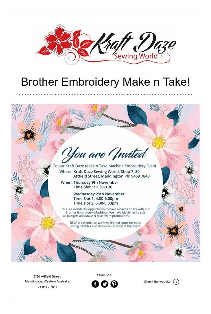 Brother Embroidery Make n Take!
