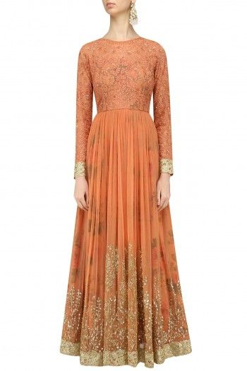 Kylee  Dusty Peach Embroidered Anarkali Gown  #happyshopping #shopnow #ppus