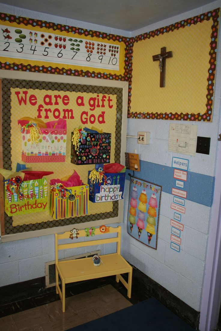 Catholic Education Father James B. Hay; Back to School...I started the year with only 5 students but as my class grew I exchanged the larger bags for smaller ones and put their names and birthdays on the gift tags--then on their birthday I put a little gift inside and brought down their bag and gave it to them.