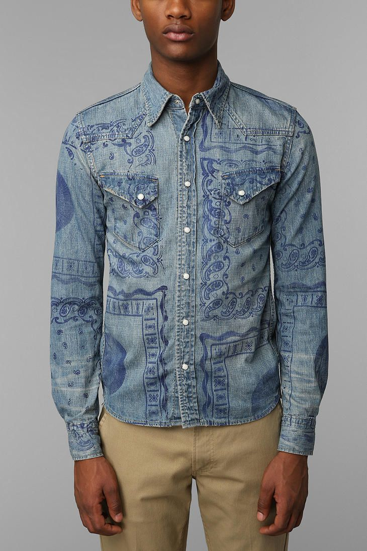 Remi-Relief exclusive denim print shirt at Urban Outfitters