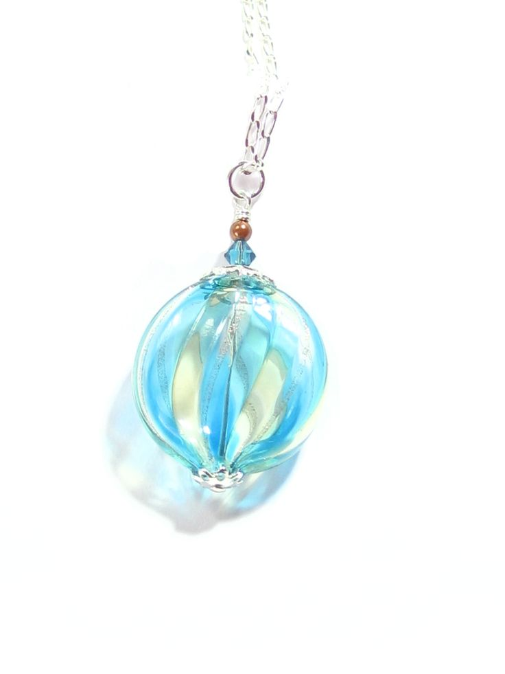 Murano Blown Glass Aqua Clear Striped Disc Silver Pendant