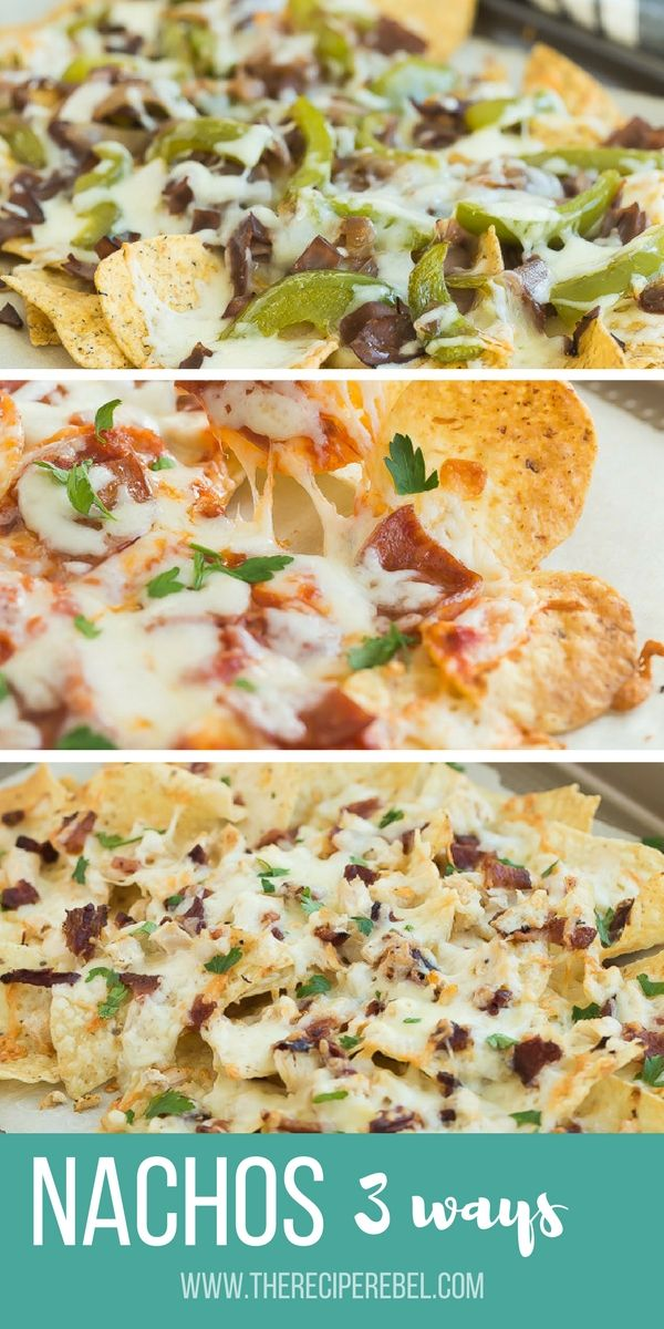 I'll show you how to make the best nachos and 3 different ways to do them up! Nachos are a crowd favorite every Superbowl, game day or family movie night -- an easy appetizer or easy dinner that everyone loves! Skip the regular ground beef in favour of Pepperoni Pizza, Philly Cheesesteak, or Bacon Chicken Alfredo.