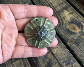 Grey Green Ceramic Pottery Knob / Drawer Pull - Edit Listing - Etsy
