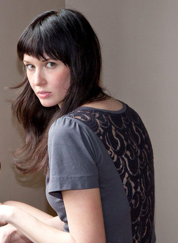 Thoughtful Lace Shirt  grey boat neck sheer short by Minxshop