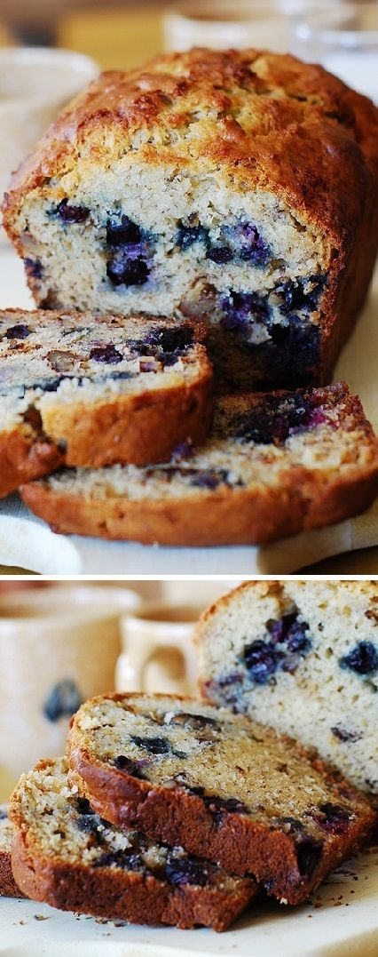 Blueberry banana bread - perfect for the Summer! Only 1/3 cup butter used, the rest is replaced with Greek yogurt.