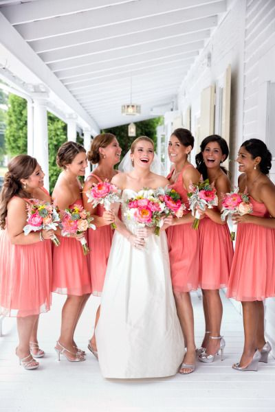 Coral bridesmaid dresses: http://www.stylemepretty.com/connecticut-weddings/2014/09/24/pops-of-color-at-lord-thompson-manor-wedding/ | Photography: Tara Lynn Sen - http://www.taralynnsen.com/