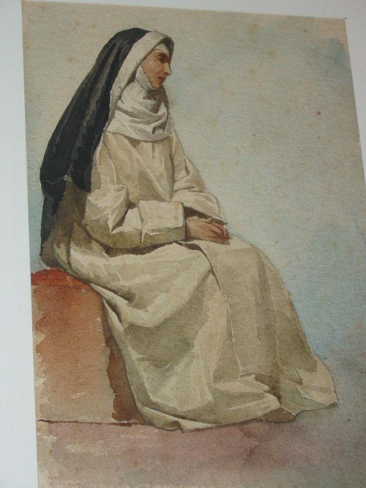 Monaca, acquarello, collezione privata, Raffaele Casnedi, pittore