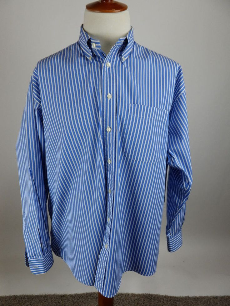 GITMAN BROTHERS USA Vintage Blue Stripe Long Sleeve Button Front Shirt Men XL #GitmanBros #ButtonFront