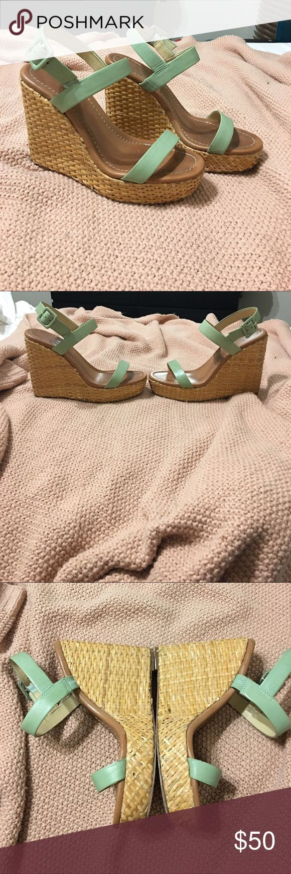 Kate Spade Wedges Celadon green Kate Spade wedges. Good condition. Minor damage to the bamboo wedge can be seen in photos. Essential spring element! kate spade Shoes Wedges