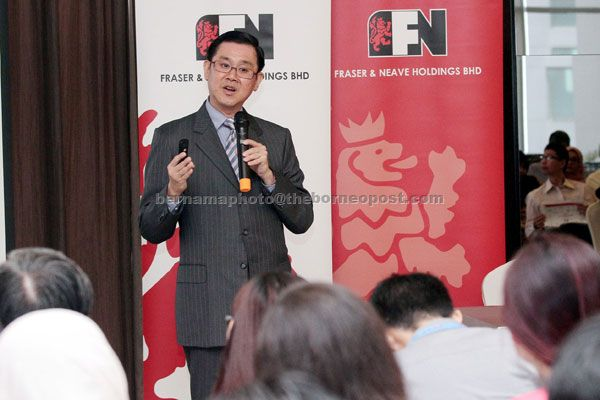 Lim is seen  explaining about the company's projects at F&N's headquarters yesterday. — Bernama photo.