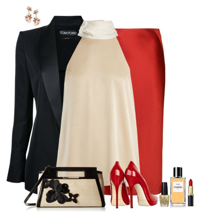 Set 2273 by lapshi4ka on Polyvore featuring Galvan, Tom Ford, T By Alexander Wang, Jimmy Choo, Brahmin, OPI and Chanel