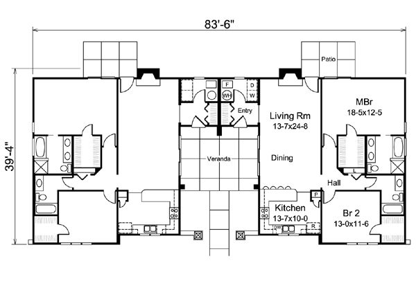 15 best images about duplex on pinterest traditional for Modern multi family house plans