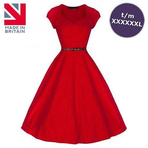 Victoria jurk met kapmouwen en luipaard print riem rood - Vintage, 50's, Rockabilly