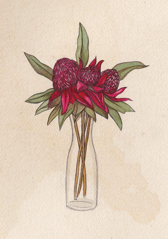 Waratah Bouquet A5 Print Waratah Flower by JenniferEmilyMagno
