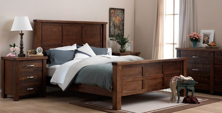 Notting Hill dark heavy wood grain bedroom funiture suite with grey and white linen and décor