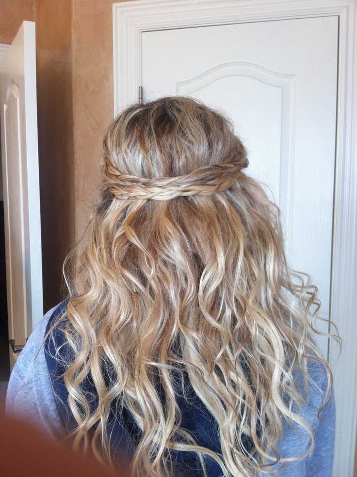Prom hair. Half up half down with braids and extensions ...