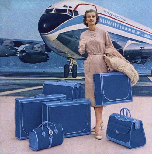 1950s luggage advertisement from Vogue.  As a child this is how we all looked!  Really lovely to travel then!