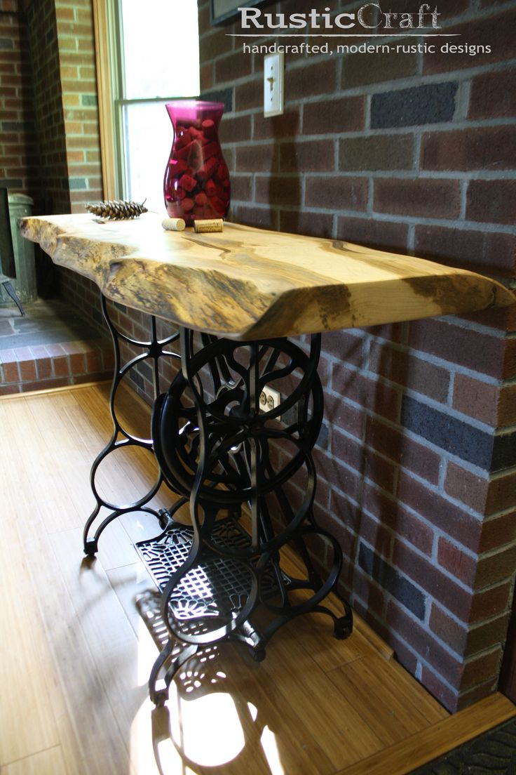 Industrial Coffee Table   Upcycled Sewing Stand With Curly Tiger Maple Wood  Slab Top   Cocktail Table 1070