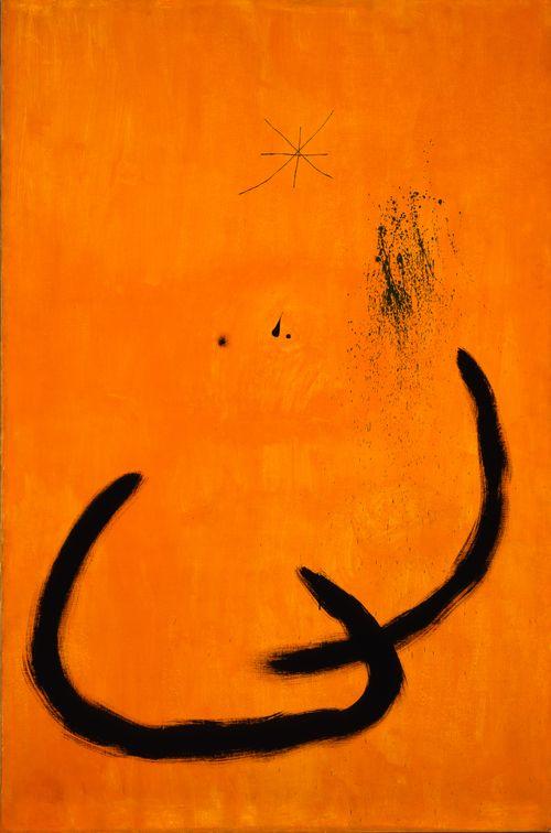 Joan Miro .Goutte d' eau sur la neige rose (Drop of Water on the Rose-Colored Snow)    March 18, 1968  Oil on canvas