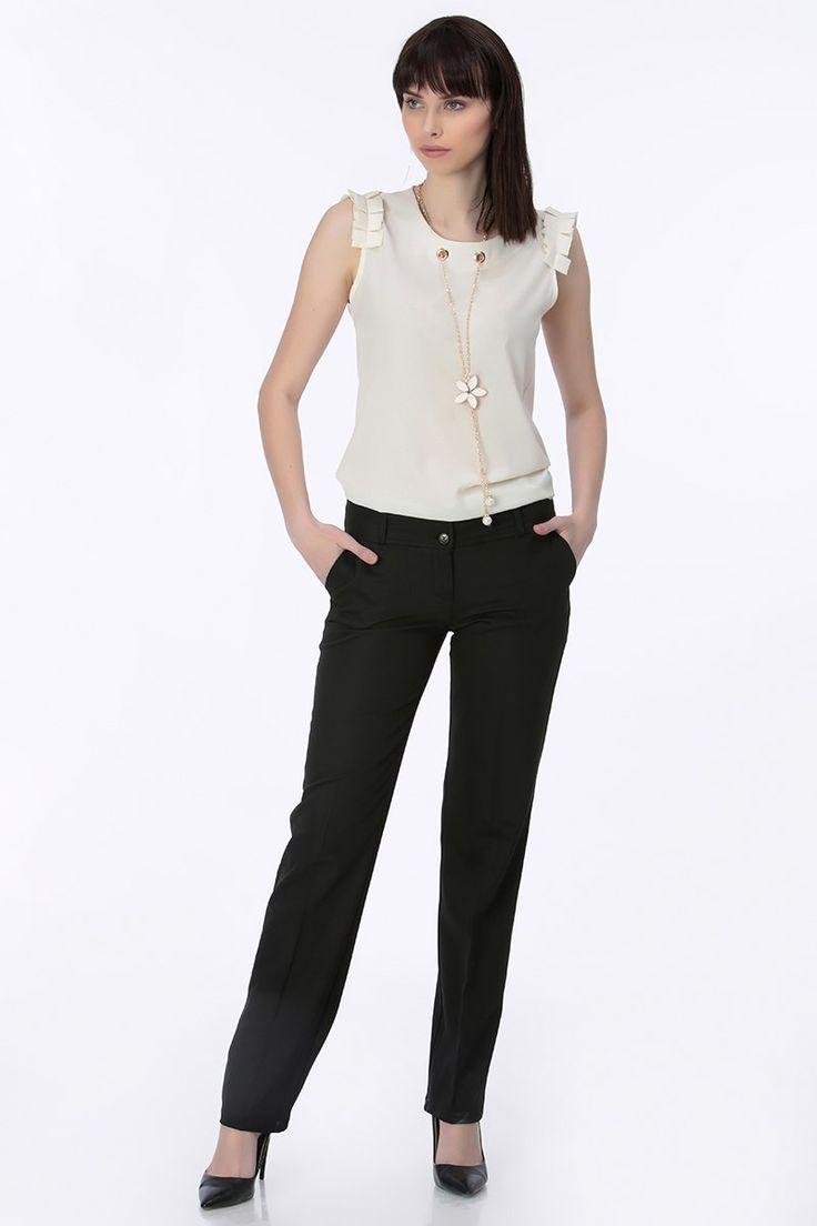 Geniş Kemer Kumaş Bayan Pantolon Siyah | Rays Giyim