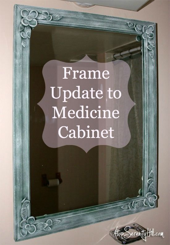 Frame update with clay flowers to old medicine cabinet • AtopSerenityHill.com