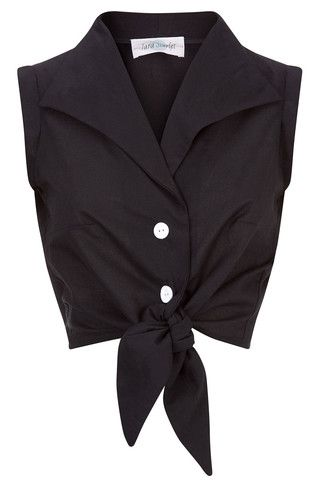 The Tie-front Shirt - Black | Tara Starlet