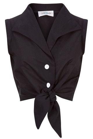 The Tie-front Shirt - Black   Tara Starlet