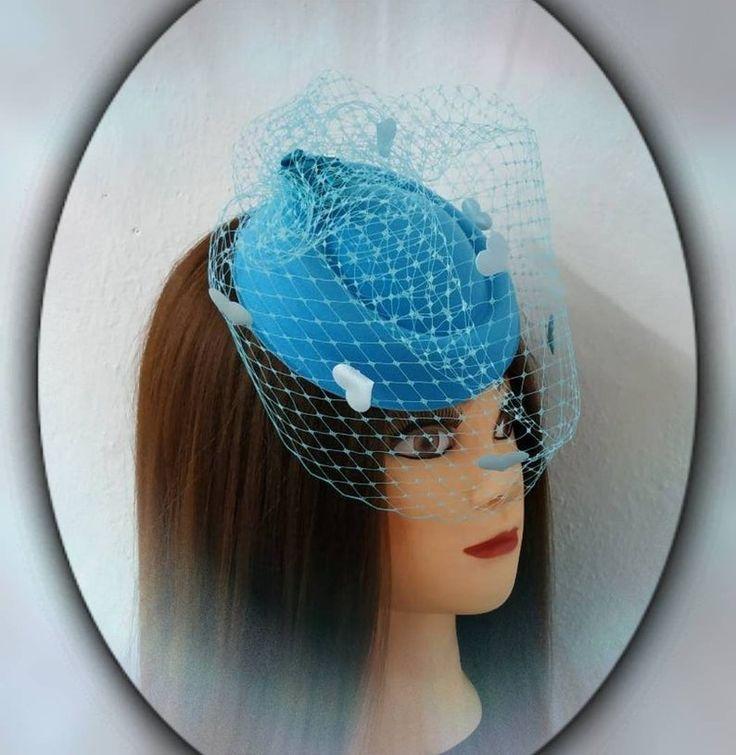 Blauwe mini hoed met sluier, Fascinators hoed, Hat Cocktail Party, hoofddeksels met sluier, Wedding Party, Tea Party Hat, tuinfeest, babydouche