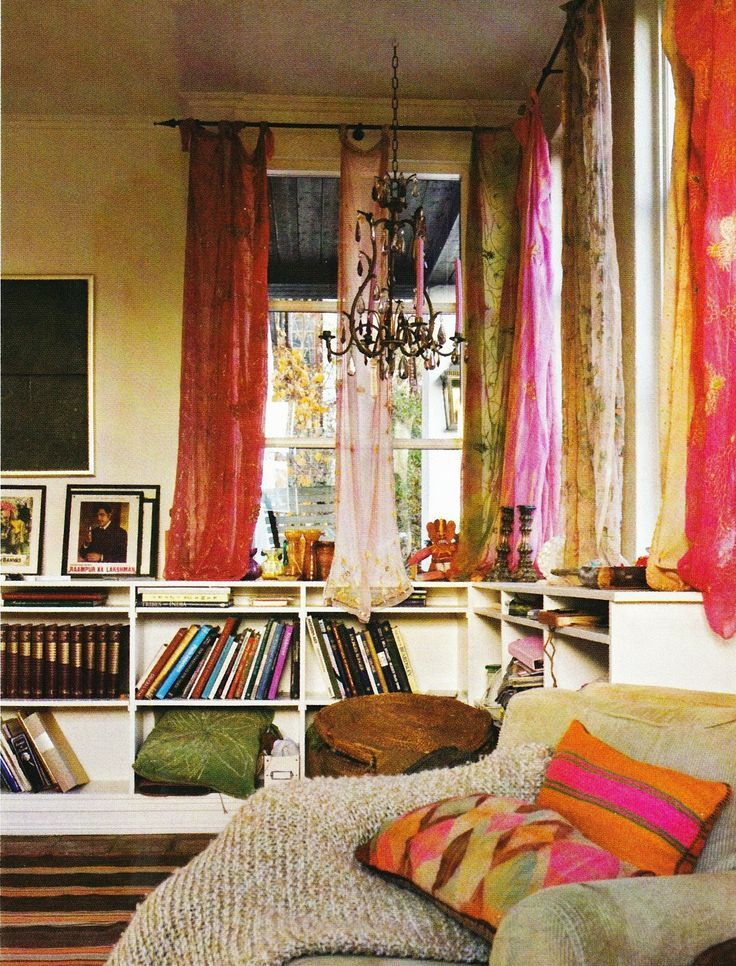 Mix and match silks tied on to the curtain rod are perfect for a bohemian abode.