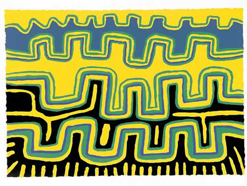 "Jimmy Pike, Larripuka II, screenprint, image size 25.5 x 36.5 cm. Aboriginal and Torres Strait Islander Art Prints. ""People been walk past Dreamtime. Some disappeared right there. This is a pattern of sandhills. People use that for carving, right up to today. This is law passed from grandfather to father to son."""