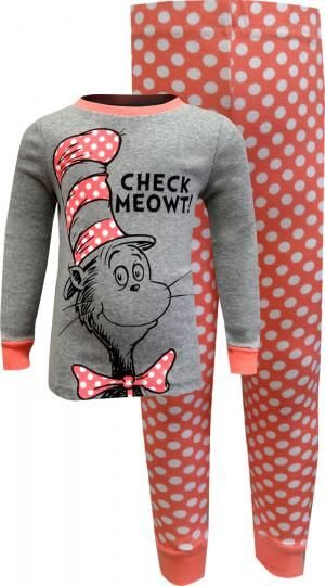 40e3a991ee Dr. Seuss Cat in the Hat Check Meowt Girls Pajamas