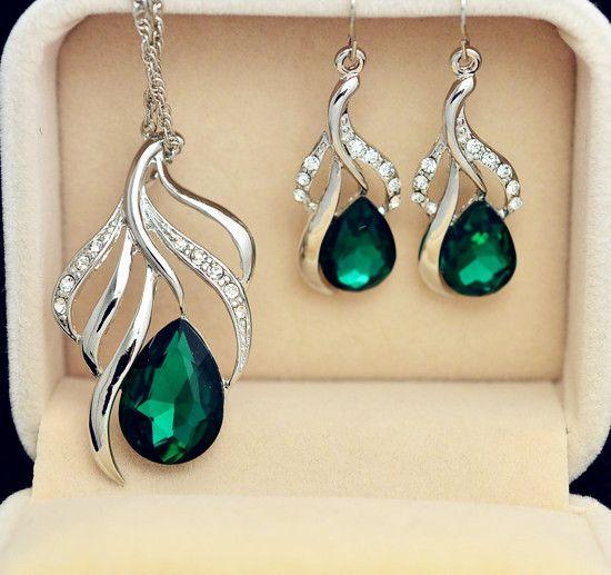 Nueva joyería de la manera plateó diseño de la hoja de cristal gota colgante pendiente del collar de regalo para las mujeres de las señoras de calidad Superior S702