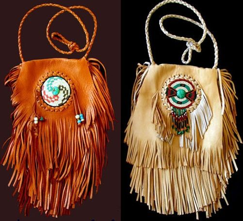 Native american beaded fringe medicine bag