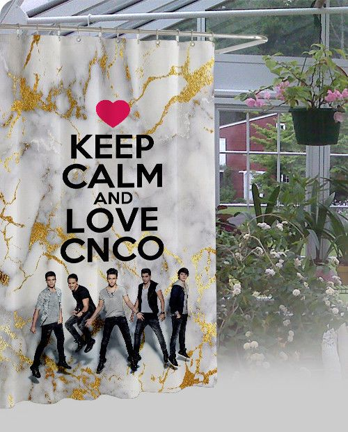 """New Exclusive CNCO Keep Calm And Love High Quality Shower Curtain 60"""" x 72"""" #Unbranded #Modern"""