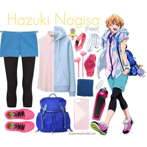 Hazuki Nagisa [Free!] by anggieputeri on Polyvore featuring Uniqlo, Warehouse, Orlebar Brown, NIKE, M Z Wallace, GUESS, First People First, Catbird, J.Crew and Under Armour