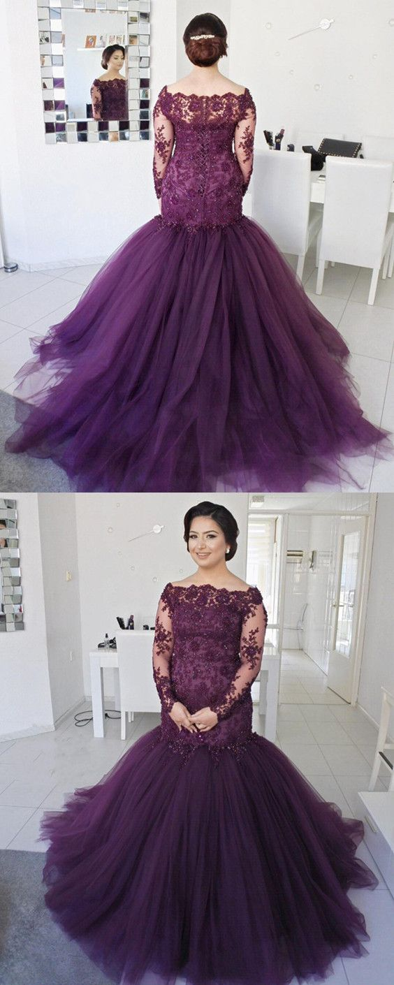 Long Sleeves Lace Mermaid Prom Dresses Plus Size Formal Evening Gowns 07a93b389283