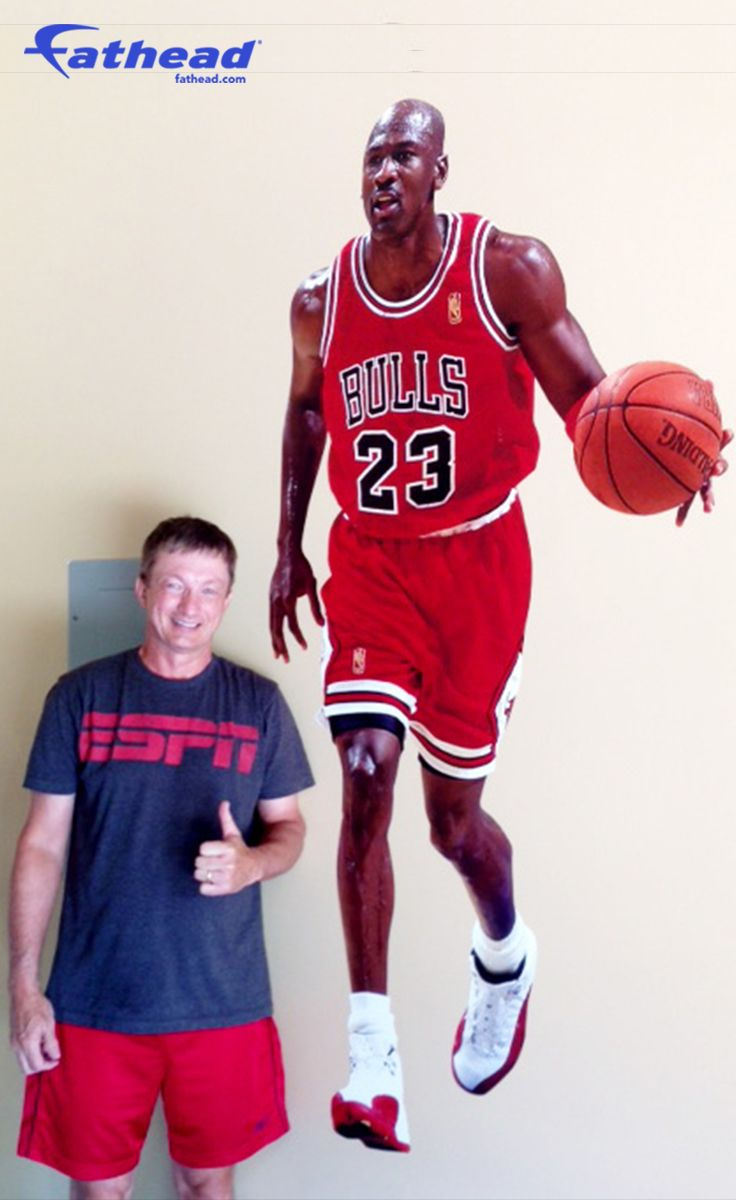 NBA Basketball | Forget posters and wall stickers, and Go Big - REAL.BIG. with a Michael Jordan Fathead wall graphic. SHOP http://www.fathead.com/nba/chicago-bulls/michael-jordan-wall-decal/ | DIY Bedroom Decor for Boys + Girls | Custom Decals | Peel & Stick | Man Cave | Home Decor