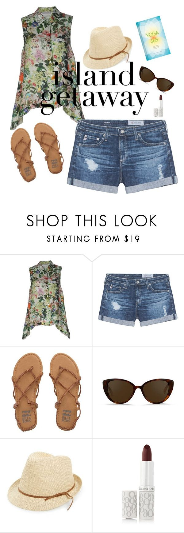 """""""Sunny weekend"""" by wardrobepieces on Polyvore featuring Zanetti 1965, AG Adriano Goldschmied, Billabong, Linda Farrow, BP., Elizabeth Arden and Chronicle Books"""